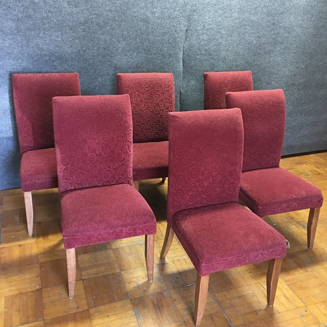 Red Armless Chairs - Set of 6 - Image 2 of 9