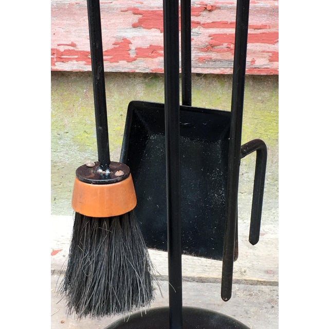 1950s 1950s Mid Century Modern Scandinavian Wrought Iron & Wicker Fireplace Tools - 4 Pieces For Sale - Image 5 of 10