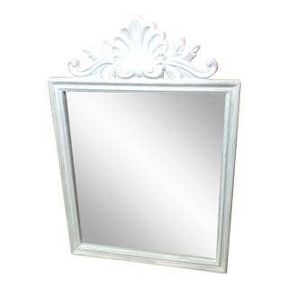 Distressed Antiqued White Mirror For Sale