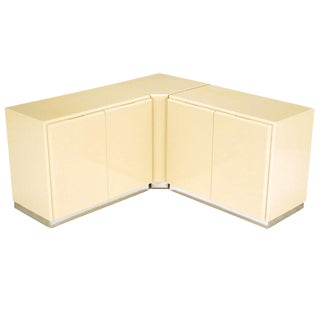 Milo Baughman Ivory Lacquer and Chrome, Two-Door Cabinets With Corner Pedestal For Sale
