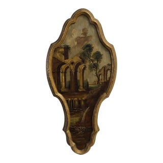1950s Italian Architectural Ruins Oil Painting, Framed For Sale