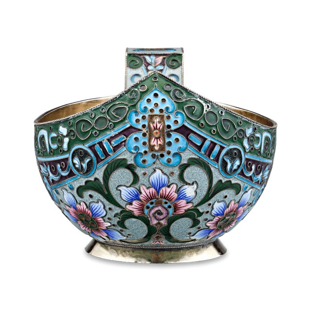 Gothic Russian Enamel Kovsh For Sale - Image 3 of 6