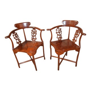 Asian Style Carved Mahogany Corner Chairs - a Pair