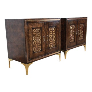 Bernhard Rohne for Mastercraft Hollywood Regency Burl Wood and Brass Bedside Chests, Pair For Sale