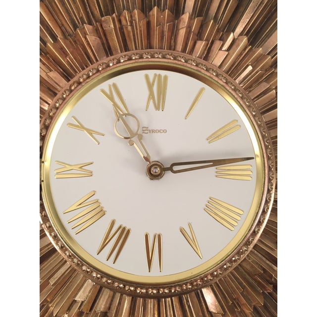 Mid Century Syroco Sunburst Wall Clock Chairish