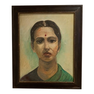 Oil Painting Portrait of Indian Woman With Bindi For Sale