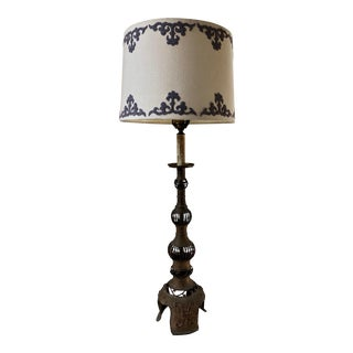 1960s Brass Table Lamp with Shade For Sale