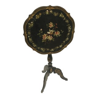 Antique English Paper Mache Tilt Top Table For Sale
