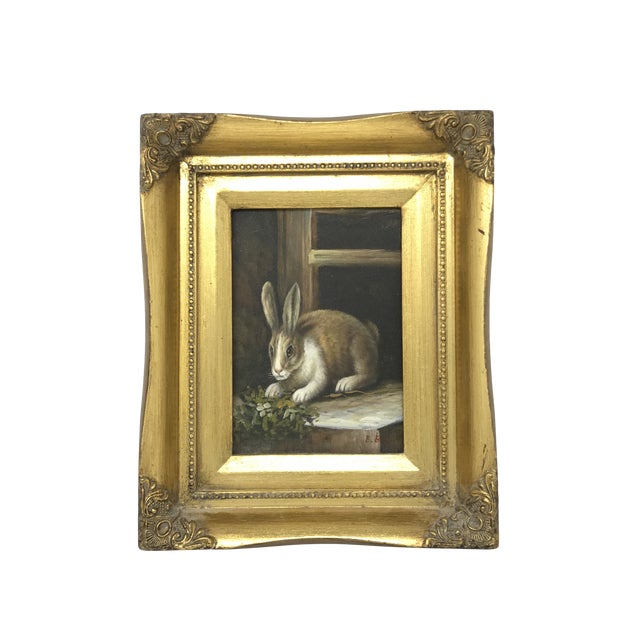 Rabbit Oil Painting in Gold Gilt Wood Frame by Robert Grace For Sale