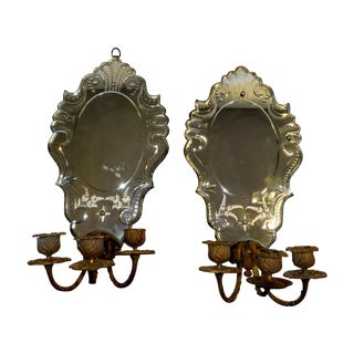 Lead Backed Etched Wall Mirror Sconces - Pair For Sale