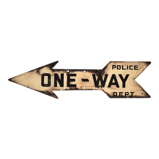 "C. 1940's Nyc Metal Arrow Form One-Way Street Sign With Black Lettering on White. ""Police Dept."" For Sale"