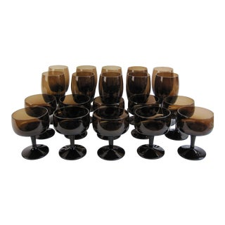 Vintage Smoked Brown Coupes & Goblets - Set of 21 For Sale