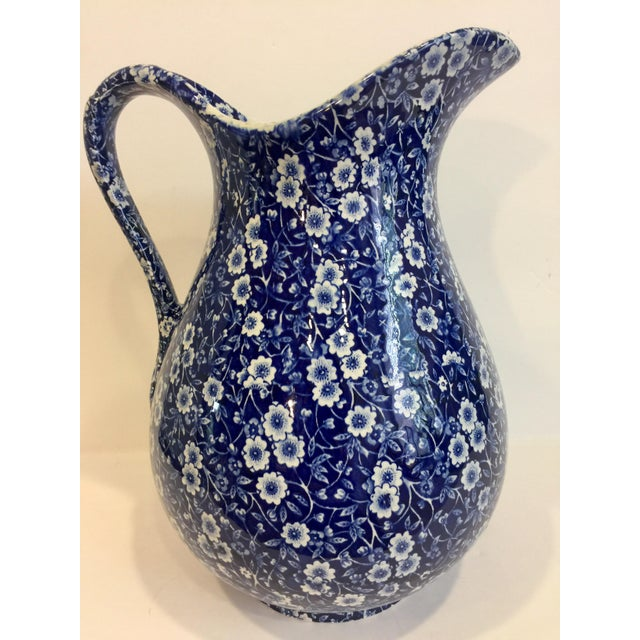 English Traditional Staffordshire Calico Blue Pitcher For Sale - Image 3 of 5