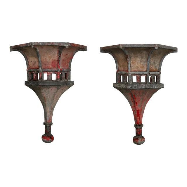 19th Century Pair Large Zinc Finials with Original Paint For Sale