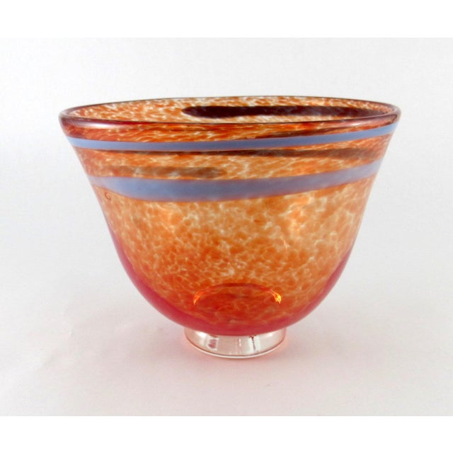 Contemporary Hand Blown Mottled Orange Art Glass Bowl For Sale - Image 3 of 10