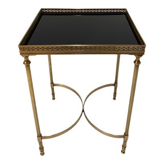 Maison Jansen Brass & Black Glass Rectangular Cocktail End Table For Sale