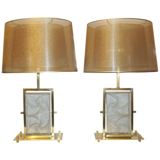 1990s Modern Italian Crystal & Brass Table Lamps - a Pair For Sale