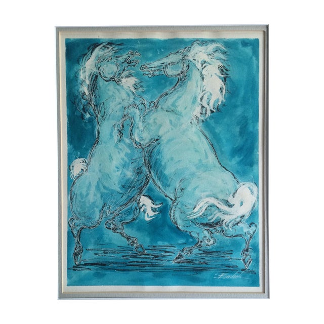 Charles Burdick White Horses Watercolor - Image 1 of 6