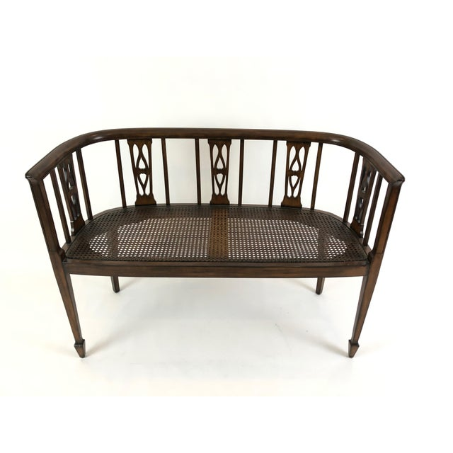 Italian Curved Fruitwood Loveseat Settee For Sale - Image 4 of 11