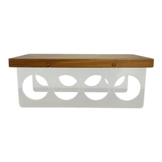 Vintage Mid-Century Lucite and Walnut Wood 4 Bottle Holder and Cutting Board For Sale