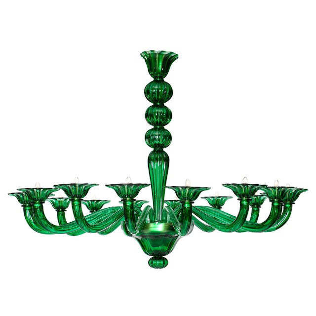 Emerald Green Murano Glass Chandelier For Sale - Image 10 of 10