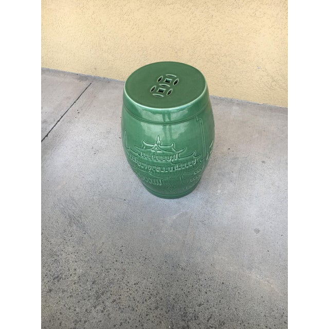 Green Vintage Contemporary Chinoiserie Green Ceramic Garden Stool For Sale - Image 8 of 9