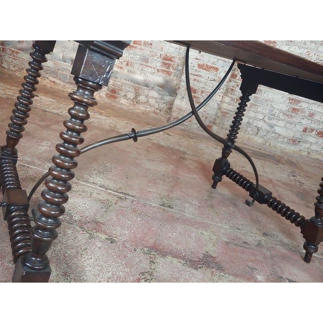 20th Century Spanish Revival Walnut Table With Iron Stretcher Bars For Sale - Image 9 of 12