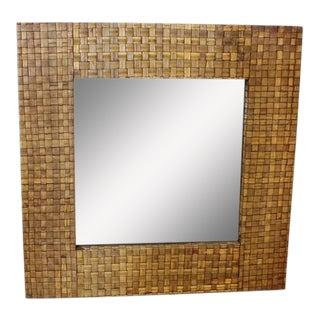 1960's Vintage Bamboo Framed Mirror For Sale