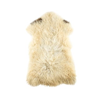 "Long Wool Sheepskin Pelt, Handmade Rug 2'1""x3'6"" For Sale"