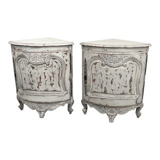 Pair of Country French Paint Decorated Corner Cabinets For Sale