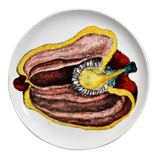Piero Fornasetti Pottery Plate, Sezioni DI Frutta, #6, Depicting a Pepper For Sale
