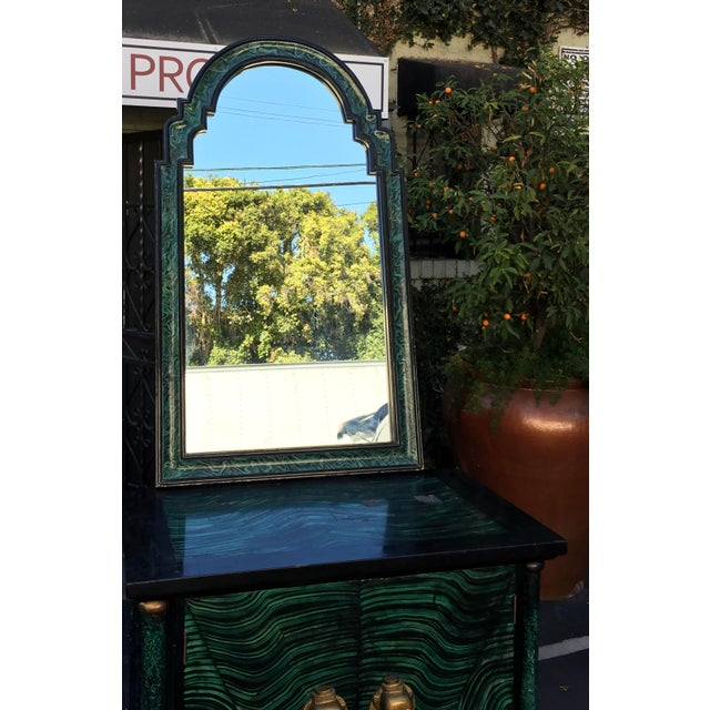 Vintage Mid Century Modern Faux Malachite Cabinet & Mirror For Sale - Image 5 of 8