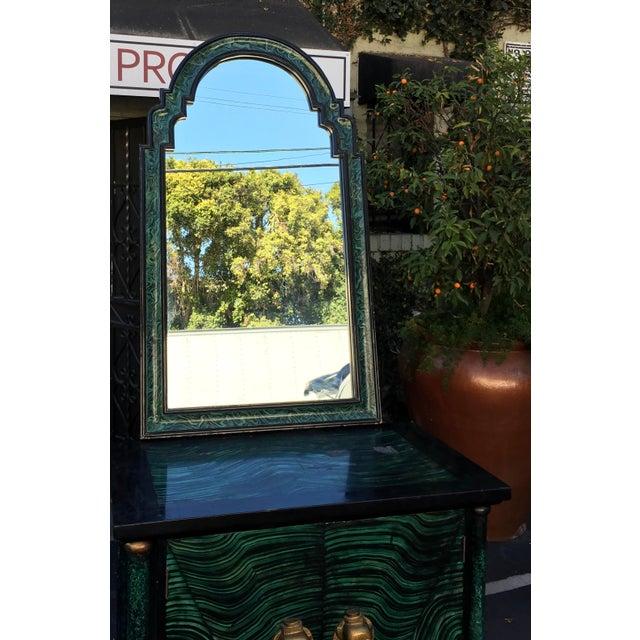 Vintage Mid Century Modern Faux Malachite Cabinet & Mirror - Image 5 of 8