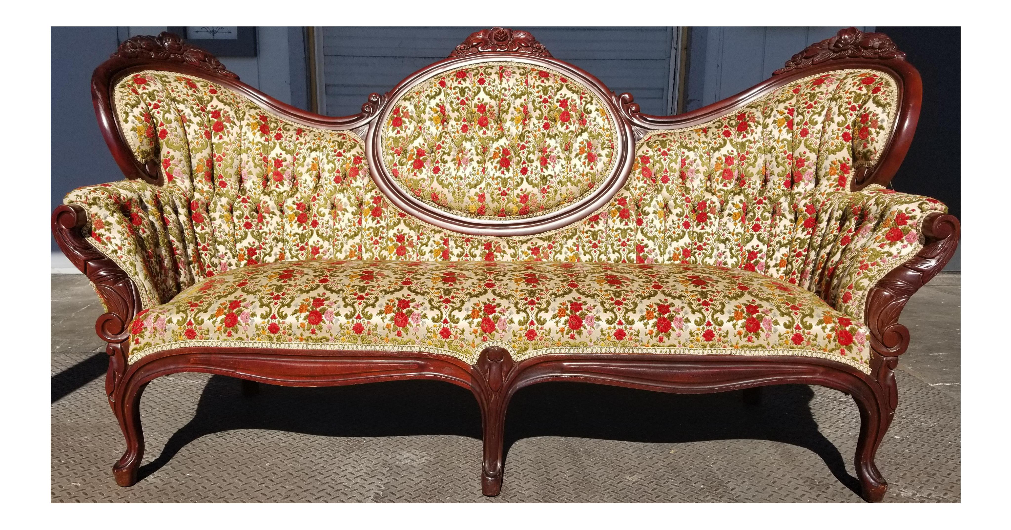 Antique Victorian Velvet Settee