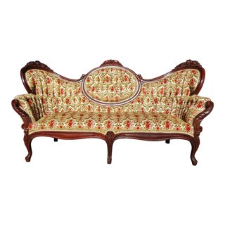 Antique Victorian Velvet Settee - Floral Vintage Couch - Beautiful Carved Wood Sofa For Sale