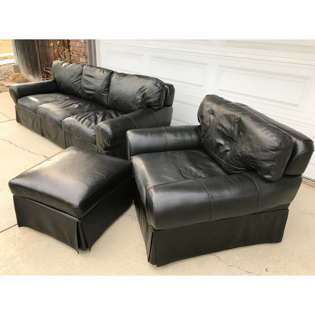 Custom Made Leather Sofa & Chair With Ottoman - Set of 3 - Image 11 of 11