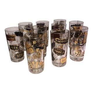 Vintage Las Vegas Gaming Cocktail Glass Set- Set of 10 For Sale