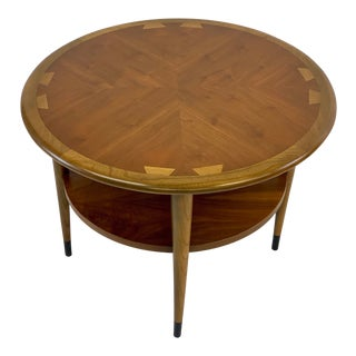 Mid-Century Modern Lane Acclaim Round Dovetail Inlay Side Table For Sale