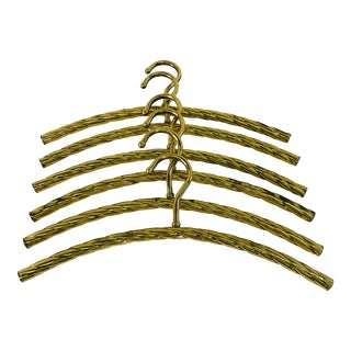 Vintage Brass Rope Style Hangers - Set of 6 For Sale