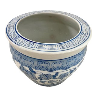 Blue and White Chinoiserie Cachepot For Sale