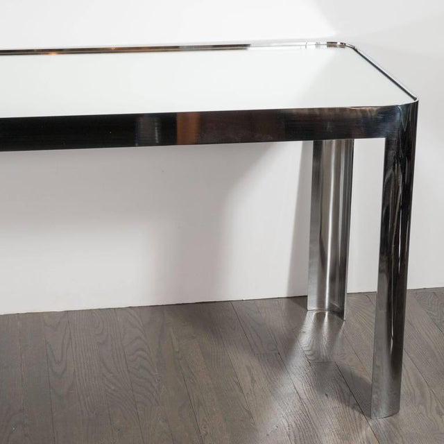 Pace Mid-Century Modernist Console Table in Seamless Polished Chrome & Mirror by Pace For Sale - Image 4 of 7