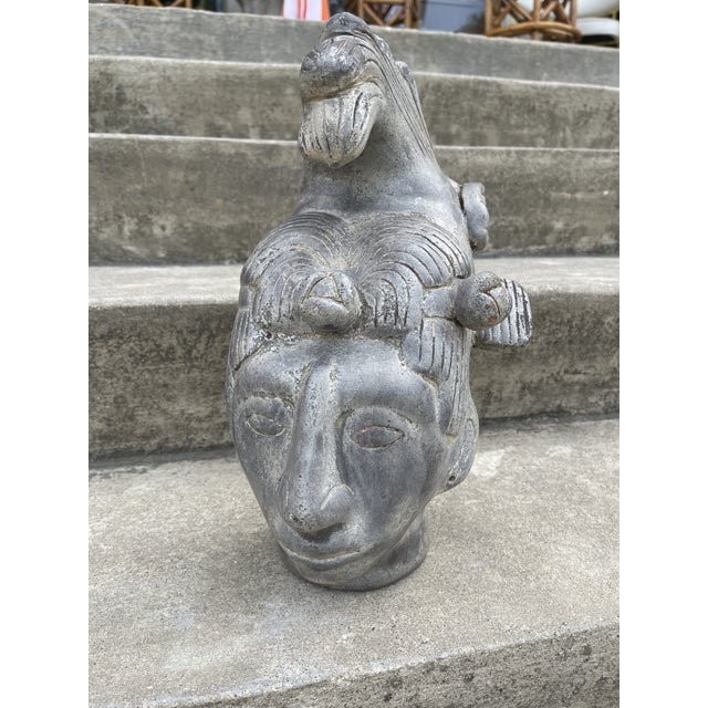 Gray Large Terracotta Mayan Sculptural Head For Sale - Image 8 of 8