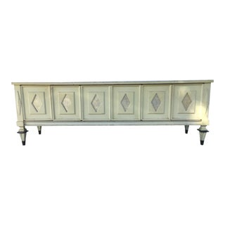 Vintage Sideboard Credenza Server W/ Capiz Shell Inlay and Brass Feet For Sale