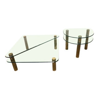 1970s Vintage Glass Coffee Table & Side Table - 2 Pieces For Sale