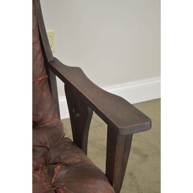 Antique Mission Arts & Crafts Period Oak Rocker With Cut Outs- Possibly Limbert For Sale - Image 12 of 13