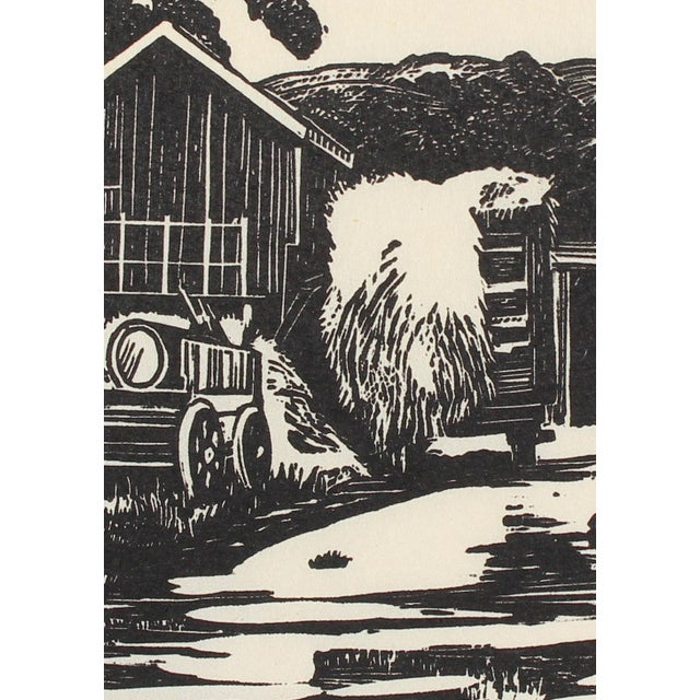 A 1940s linoleum block print on paper portraying a roadside by San Leandro, CA artist Mary Watterick Evans. Evans was a...