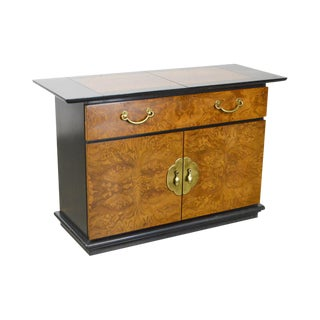Bernhardt Burl Wood & Ebonized Asian Inspired Server Cabinet