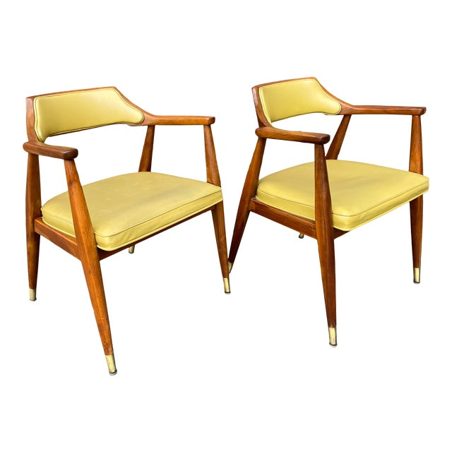 Mid 20th Century Walnut Jasper Armchairs - a Pair For Sale