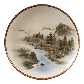 Early 20th Century Japanese Satsuma Porcelain Mountain Village on River Scene Charger Plate For Sale