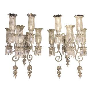 Pair of Bohemian Baccarat Glass Style Platinum Five-Light Sconces For Sale